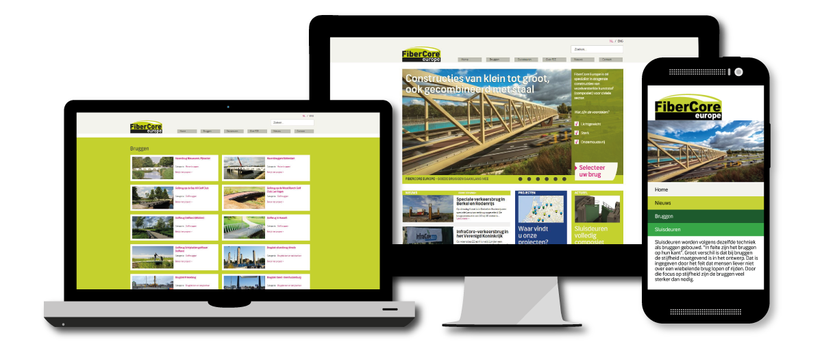 FiberCore Europe responsive website, voor alle schermresoluties.